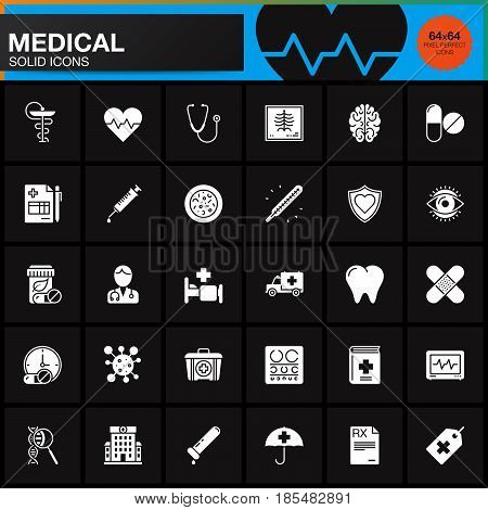 Medicine and Health vector icons set Medical modern solid symbol collection pictogram pack isolated on black logo illustration