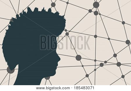 Profile of the head of a man. Mental health relative vector brochure, report or flyer design template. Mohawk hairstyle. Molecule And Communication Background. Connected lines with dots.