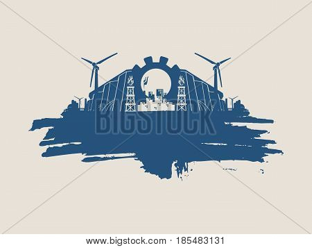 Energy and Power icons set and grunge brush stroke. Energy generation and heavy industry relative image.