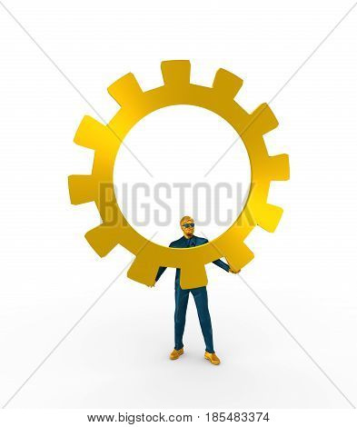 Businessman in wizard pose. 3D rendering. Bearded man wearing the sunglasses and holding huge cog wheel