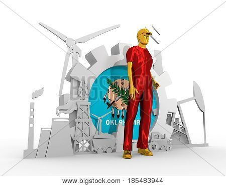 Young man wearing apron. Bearded worker at industrial isometric icons set with Oklahoma flag. 3D rendering. Metallic material. Energy generation and heavy industry.