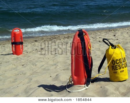 Ocean Rescue Gear Near Water