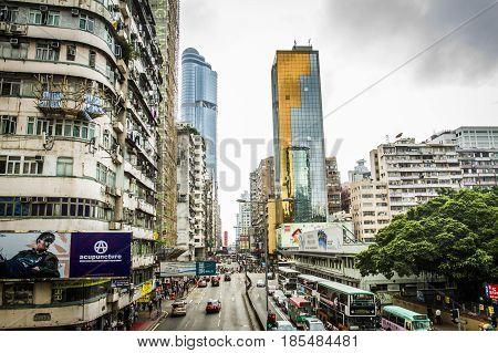Hong Kong, China - April 1, 2012: A Busy Street In The Heart Of Mongkok, Hong Kong During The Day
