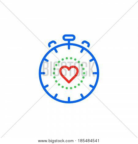 Cardio Workout symbol. stopwatch with heart line icon outline vector logo illustration linear colorful pictogram isolated on white