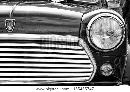 Berlin - May 11: Detail Of The Car Rover Mini, Black And White, 26Th Oldtimer-tage Berlin-brandenbur
