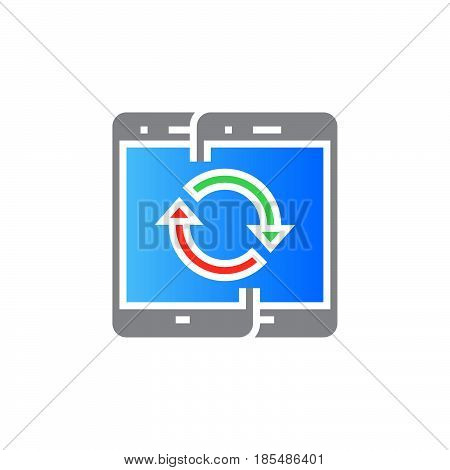 Sync mobile devices icon vector solid sign colorful pictogram isolated on white logo illustration
