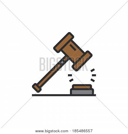 Law symbol. Gavel line icon filled outline vector sign linear colorful pictogram isolated on white logo illustration