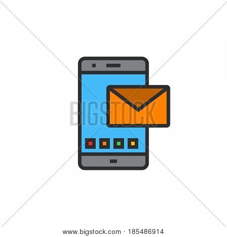 Sms line icon message filled outline vector sign linear colorful pictogram isolated on white logo illustration