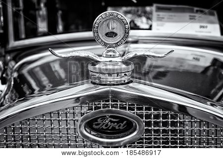 Berlin - May 11: Radiator (engine Cooling) And The Emblem Of The Car Ford Model A (black And White),