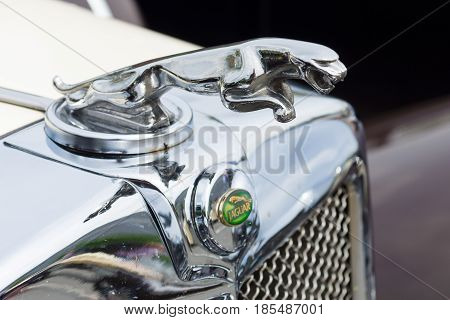 Berlin - May 11: The Emblem Of Jaguar Ss-100 Roadster, 26Th Oldtimer-tage Berlin-brandenburg, May 11