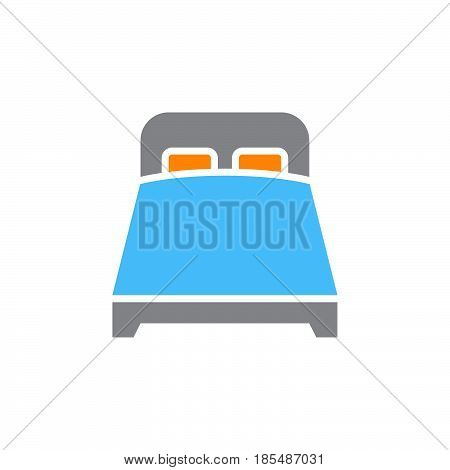 double bed icon vector solid sign colorful pictogram isolated on white logo illustration