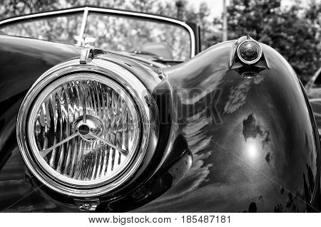 Berlin - May 11: Headlamp Sports Car Jaguar Xk140 Roadster, (black And White), 26Th Oldtimer-tage Be