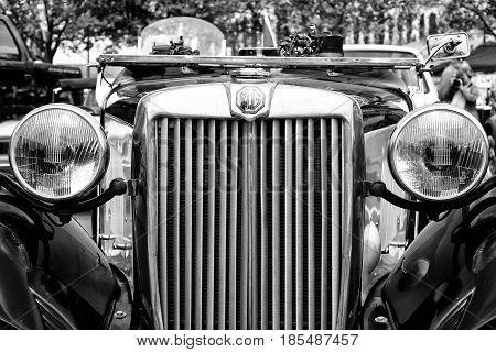 Berlin - May 11: Sport Car Mg Td Midget, Close-up, (black And White), 26Th Oldtimer-tage Berlin-bran