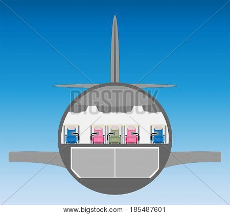 Business Class Seat Of Wide Body Airplane Cross Section