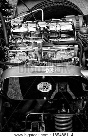 Berlin - May 11: Engine British Sports Car Triumpf Spitfire 1500 Close-up (black And White) 26Th Old