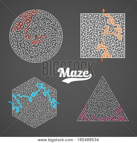 Illustration of Vector Maze Set. Labyrinth Game Puzzle with Solution Concept