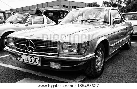 BERLIN - MAY 11: Car Mercedes-Benz 280 SLC (C107) (black and white) 26th Oldtimer-Tage Berlin-Brandenburg May 11 2013 Berlin Germany