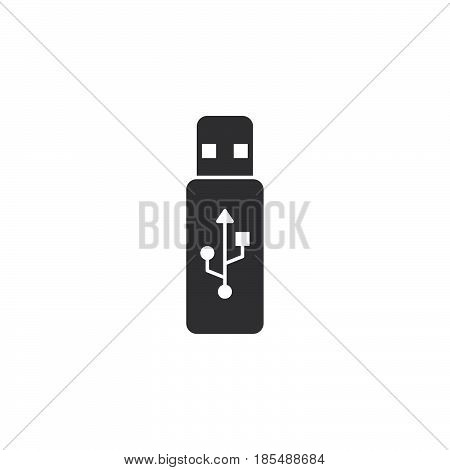 Usb Stick Icon Vector, Flash Memory Solid Logo Illustration, Pictogram Isolated On White