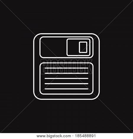 Save Thin Line Icon, Floppy Disk Outline Vector Logo Illustration, Linear Pictogram Isolated On Blac