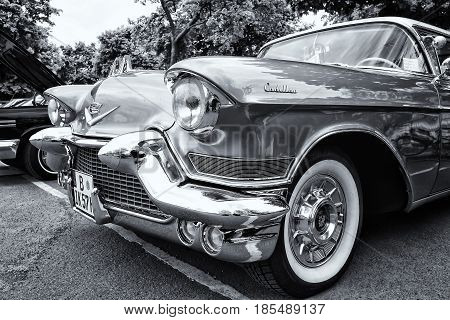 Berlin - May 11: Detail Of The Full-size Luxury Car Cadillac Sixty-two Coupe De Ville (black White),
