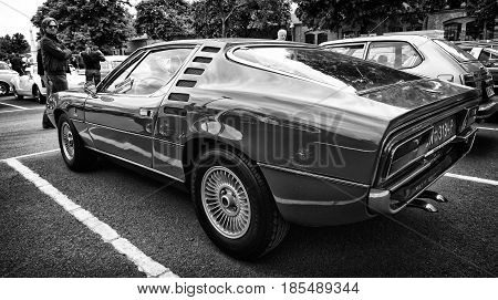 Berlin - May 11: Sport Car Alfa Romeo Montreal, A Rear View (black And White), 26Th Oldtimer-tage Be