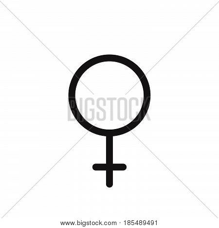 Female Gender Symbol. Line Icon, Outline Vector Logo Illustration, Linear Pictogram Isolated On Whit