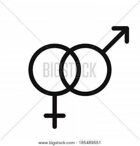 Heterosexual Gender Symbol. Line Icon, Outline Vector Logo Illustration, Linear Pictogram Isolated O