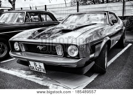 Berlin - May 11: Sport Car Ford Mustang Mach I, Front View (black And White), 26. Oldtimer-tage Berl