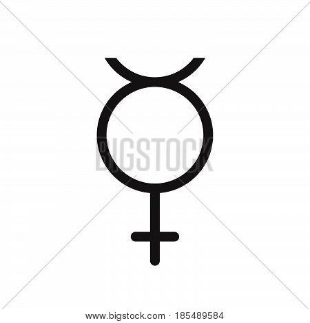 Non Binary Transgender Symbol. Line Icon, Outline Vector Logo Illustration, Linear Pictogram Isolate