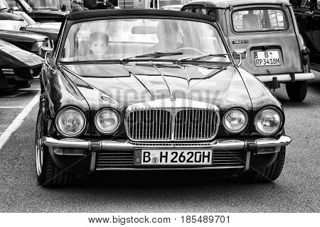 Berlin - May 11: Luxury Car Daimler Double-six (jaguar Xj), Front View (black And White), 26Th Oldti