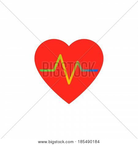 Heartbeat Icon Vector, Heart Rate Solid Logo Illustration, Colorful Pictogram Isolated On White