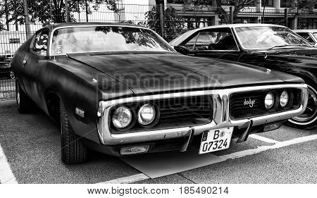 Berlin - May 11: A Mid-size Automobile Dodge Charger (b-body), Third Generation (black And White), 2