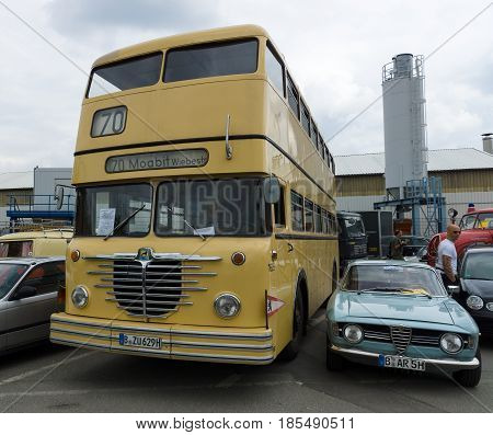 Berlin - May 11: Bus Buessing Omnibus D2U Doppeldecker And Alfa Romeo Gt 1300 Junior, 26Th Oldtimer-