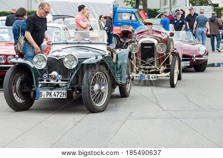 Berlin - May 11: French Retro Car Amilcar (ecurie Sidecar) And English Retro Cars Riley Mph 15-6 In