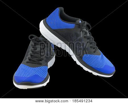 Pair of blue sport shoes on black background. Sport shoes isolated. File contains a clipping path. Sport running shoes isolated on black background. trekking shoes. Sport running shoes blue coler. Sport running shoes closeup.