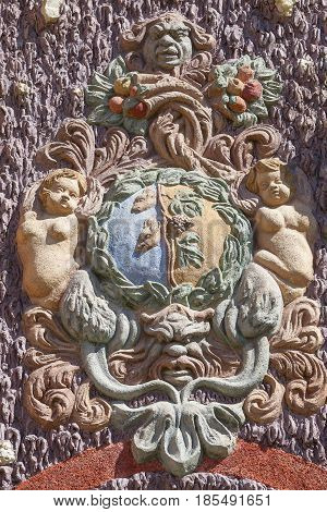 Troja Palace, relief on surrounding wall , Prague, Czech Republic, Europe