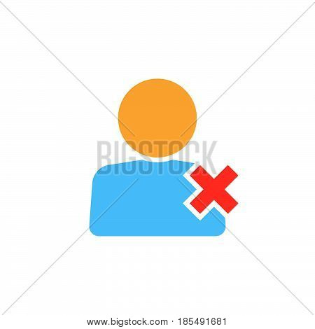 Delete User Icon Vector, Remove Account Solid Logo Illustration, Colorful Pictogram Isolated On Whit