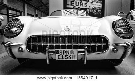 BERLIN - MAY 11: Sport car Chevrolet Corvette (C1) 1954 black and white 26th Oldtimer-Tage Berlin-Brandenburg May 11 2013 Berlin Germany