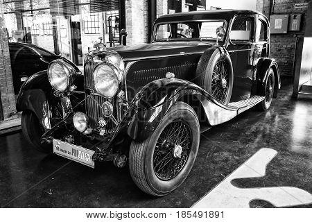 BERLIN - MAY 11: British luxury car Lagonda M45 (black and white) 26th Oldtimer-Tage Berlin-Brandenburg May 11 2013 Berlin Germany