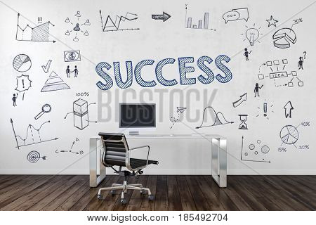 SUCCESS | Desk in an office with symbols. 3d Rendering.
