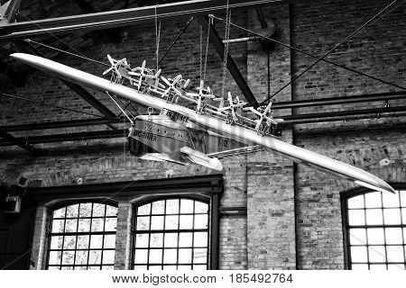 Berlin - May 11: Model Of German Heavy Passenger Flying Boat Dornier Do X (black And White), 26Th Ol