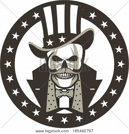 Vector illustration of black and white badge human skull in a hat of a cylinder and clothes of a gentleman in round form American symbols