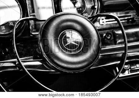 Berlin - May 11: Steering Wheel And Dashboard Of Two-door Roadster Mercedes-benz 230 Sl, (w113), Bla