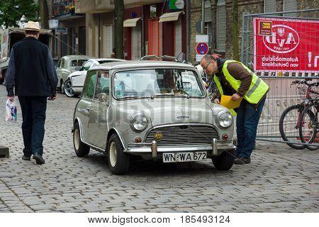 Berlin - May 11: A Small Economy Car Austin Mini Cooper, 26Th Oldtimer-tage Berlin-brandenburg, May