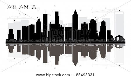Atlanta City skyline black and white silhouette with reflections.. Simple flat concept for tourism presentation, banner, placard or web site. Cityscape with landmarks.