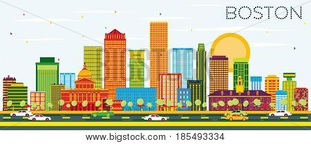 Boston Skyline with Color Buildings and Blue Sky. Business Travel and Tourism Concept with Modern Buildings. Image for Presentation Banner Placard and Web Site.
