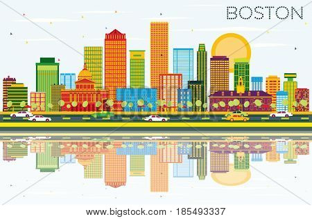 Boston Skyline with Color Buildings, Blue Sky and Reflections. Business Travel and Tourism Concept with Modern Buildings. Image for Presentation Banner Placard and Web Site.