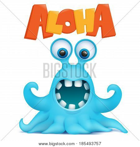 Octopus alien monster emoji character with aloha title. Vector illustration