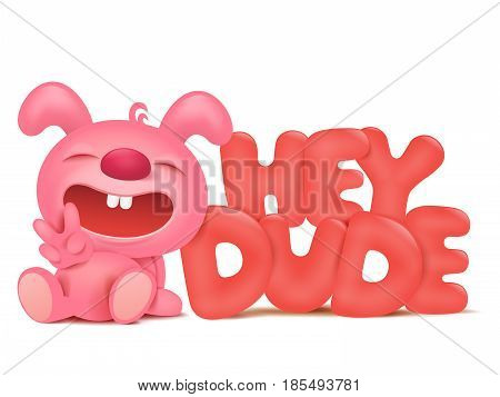 sitting pink bunny cartoon character with hey dude title Vector illustration