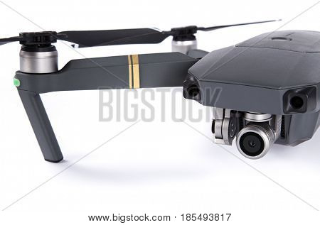 DJI Mavic Pro drone: Prague MAY 4, 2017. Closeup,on white background. One of the most portable drones in the market,with 4k ultra hd.